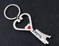 Wholesale Opener Key Chain - 2017 new Paris eiffel tower souvenirs key chain heart bottle opener keychains fashion design metal keychain factory sale high quality