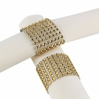Wholesale Table Bows - Wholesale- 100pcs Gold Silver Rhinestone Napkin Rings for Wedding Decoration Plastic Chair Sash Bows Napkin Holders Table Deco Accessories