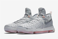 Wholesale Pink Pre - (With shoes Box) Kevin Durant KD 9 IX Low Pre Heat Preheat QS Wolf Grey Crimson 43396-090 Men Basketball Sport Shoes Free Shipping