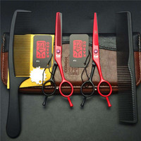 Wholesale Hair Cutting Shears Sale - Hot Sale Set 5.5 Inch Red Japan Kasho Professional Human Hair Scissors Hairdressing Cutting Shears + Thinning Scissors + Combs H1012