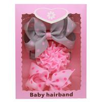 Wholesale Stripe Ribbon Hair Bows - Baby Headbands Bow Korean 3pcs Set Box Pack Girls Elastic Grosgrain Ribbon Bow Hairbands Kids Boutique Dot Stripe Hair Accessories KHA568