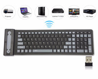 Wholesale Wireless Flexible Keyboards - Portable 2.4G Wireless Silicone Soft Keyboard 107 key Flexible Waterproof Folding Keyboard Pocket Rubber Keyboard for PC Laptops