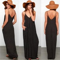 Wholesale big polka dot women dress - Women Loose Maxi Dress Sling Polka Dot Pocket V-neck Summer Casual Vestido Temperament Big Swing Dress