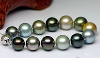 Wholesale Tahitian Pearl Strands - Fine pearl jewelry genuine natural Tahitian black pearl bracelet mixed color bracelet sea pearl bracelet 11-12mm Auror 7-8inches