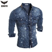 Wholesale Brand Men S Denim Shirts Long Sleeve Turn Down Collar Fashion Slim Fit Style Dark Jeans Men Shirt Camisa Jeans Masculina
