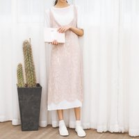 Wholesale Sty Nda - Wholesale- Free Shipping 2017 Korean Sty Nda summer new sweet lovely art lace Dress Two Pieces temperament Vintage fashion Long Holiday