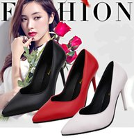 Wholesale European Wedding Stiletto - Free Shipping The European And American Stars Paint Shallow Pointed Mouth Super Fine With High Heels