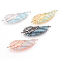 Wholesale Wings Connectors - 4 Color Micro Pave Cubic Zirconia Rhinestone Pendant with Single Wing, ICSP093, Size 42.9*14.4mm