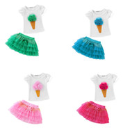Wholesale Girls Ice Cream Top - Ice cream New Summer Girls Two-piece Clothing Suits Kids Ice-cream Corn Short Sleeve White Cotton Tops T Shirt + tutu Skirt Children Outfits