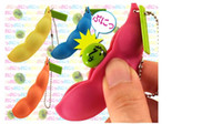 Wholesale Colorful Bean Bags - 200pcs lotFunny Toys Happy Colorful Extrusion Pea Bean Soybean Edamame Stress Relieve Toys Keychain Keyring Car Pendant For bag