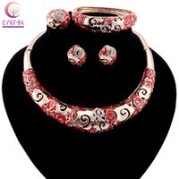 Wholesale Chinese Plate Set White - Women Chinese Style Gold Plated Statement Necklace Trendy Necklace With Earrings Crystal For Party Wedding Fashion Jewelry Sets 2017