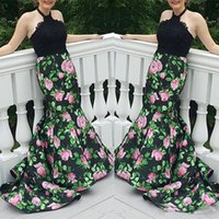 Wholesale Long Dress Free Shiping - 2017 Free Shiping Two Pieces Lace Applique Printed Mermaid Evening Dresses Halter Bridesmaid Dresses Crystal Beaded Black Long Prom Gowns