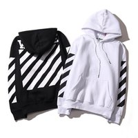 Wholesale Stripe Long Sleeve Top - OFF WHITE Men's Stripe Hoodies Loves OFF WHITE Sweatshirts Causal Hip Hop Cool Brand Designer Men's Jesus Striped Cotton Hoodie Tops