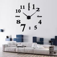 Wholesale reloj pare for sale - new real clock clocks reloj de pared watch d diy acrylic mirror wall stickers modern home decor living room