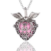 Wholesale Wholesale Open Hearts Jewelry - Heart Strawberry Sound pearl cage lockets Pendant Necklaces Opening floating Sound bead Lockets necklace For pregnant woman Jewelry
