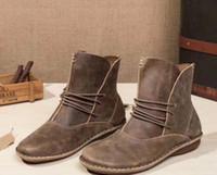 kadınlar için kahverengi düz çizmeler toptan satış-Toptan sattığınız daireler hakiki deri kadın lace up boots eski kahverengi kahve deri kaliteli moda ayak bileği patik size35-40