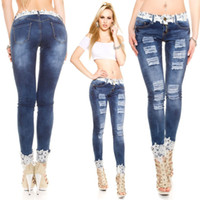 Vente en gros - Produits en vedette Brodé Pencil Ripped Jeans For Fashion Ladies Vintage Bleached Dentelle Skinny Trouser Jeans Feminino 1028