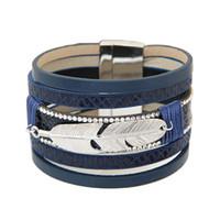 ingrosso uomini del braccialetto della piuma-Boemia retrò strass in lega di piume multistrato braccialetto di cuoio Boho magnetico nappa bracciale donne avvolgere braccialetti di fascino braccialetto uomini