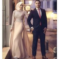 Wholesale sexy glamorous prom dresses - 2017 Glamorous High Collar Lace Long Sleeve Mermaid Muslim Prom Dresses with Train Beads Evening Gowns Plus Size Mother of the Bride Dresses