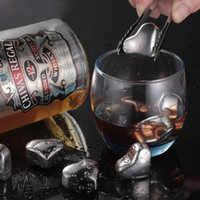 Wholesale Stainless Whisky - Heart Shaped Stainless Steel Whisky Stones Ice Cubes Whiskey Cooler Rocks With Clip Wine Drinks Drinking Cooling Chilling Icestone OOA1965