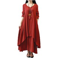 Wholesale casual linen maxi dresses - Women Casual Solid Spring Dress Loose Full Sleeve V Neck Button Dress Cotton Linen Boho Long Maxi Dress Vestidos