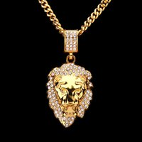Wholesale Flashing Necklace Christmas - Europe and the United States new ultra-flash drilling lion head hip-hop necklace jewelry Lion Head Necklace hip-hop fashion pendant