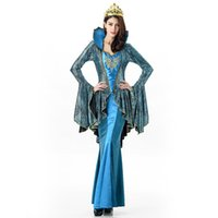 Wholesale Halloween Greek Goddess - Greek Goddess Western Stage Clothing Queen Dresses Carnival The New Blue Stretch Stretch Tight One Size Wrinkles