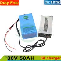pacote de bateria recarregável de 3.6v venda por atacado-Scooter Bateria 36 v 50ah Bateria Recarregável eBike 36 v 1000 w bateria de lítio + 5A carregador + 50A BMS Frete grátis e Dever