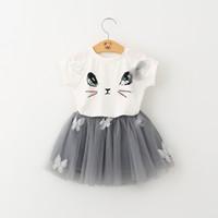 Wholesale T Ball Set Wholesale - INS Baby Clothes Girls Dress Cute Cat Short Sleeve T-shirt Ball Gown Dresses Bubble Skirt Tulle TUTU Dress Children Set Kids Clothing 048
