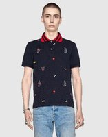 ingrosso uomini leopardo polo-Look Summer Leopard / Tigre / Serpente / Ape / Fiori / Crown Print Polo uomo Fashion White Brand Man's Wear manica corta Polo Top Nero