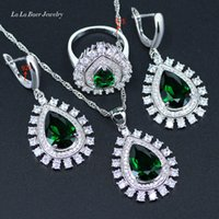 Wholesale Created Emerald Jewelry - L&B American Angel Tears 925 Sterling Silver Green Created Emerald White CZ Jewelry Sets For Women Pendant Necklace Earrings Ring