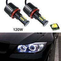 Wholesale Universal Halo Lights - 2pcs 8000LM 120W Super White H8 Angel Eyes Halo Ring Light Bulbs Xenon LED For BMW CLT_60D