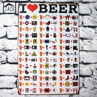 I Love Beer Divertente Pittura Poster Poster di stagno in metallo 20X30CM Piastra di ferro Decorazione da parete Plaque Club Home Bar Shop Cafe Gallery