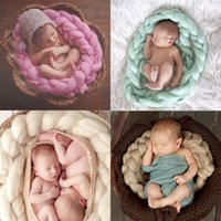 Wholesale Crochet Baby Basket - Wholesale-Newborn Twist Rope Basket Photo Props Backdrop Background Baby Photography Prop Crochet Knitted Costume Basket free shipping