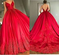 Wholesale Celebrities Spaghetti Dresses - Sexy V Neck Appliques Red Carpet Celebrity Dresses 2017 Backless Red Satin Formal Evening Gowns Party Pageant Quinceanera Gowns Prom Dresses