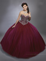 Dark Quinceanera Borgogna Abiti 2017 Mary's con Sheer Bolero e pizzo indietro Bling Bling cristalli Royal Blue Sweet 15 vestito Sweetheart