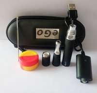 Wholesale Ego Wax Skillet Battery Kit - Skillet Vaporizer Pen Starter Kits Include Skillet Ego D Wax Atomizer Dual Quartz Coil Dry Herb E Cigarette Ego T battery Zipper case