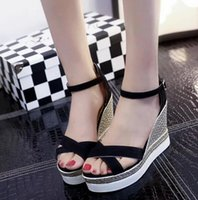 Wholesale Women S Sandals Slippers - New women 's slippers with high heeled sandals leather muffled thick bottom waterproof table frosted Roman sandals