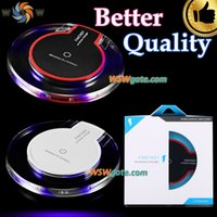 blue box padding - Wireless Charger Higher Quality Qi Wireless Charger Pad With Crystal Body And Blue Light With Retail Box Hot Sale Free DHL Shipping