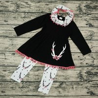 Wholesale Shirts New Style For Boys - Christmas INS baby girl clothing set new Spring autumn 2017 baby boys clothing sets scarf+t shirt+pant deer heart kids clothes set for girl
