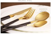 Wholesale Plated Flatware - newest Flatware Sets Eco-friendly Japanese dinnerware cutlery set stainless steel gold plated flatware quality tableware household wn258