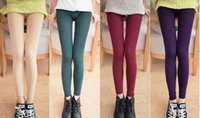 Wholesale Tights Pants Leather - Fashion woman upset Pearl velvet leggings Autumn winter Nine points Step on the foot Warm Tight pants