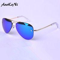 Wholesale Male Sunglass - AOOKONI Brand Design Grade AK3449 Sunglasses Women Men Mirror Sunglasses Vintage Sun Glasses No Frame For Women Female Male Ladies Sunglass