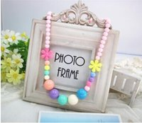 Wholesale Candy Jewelry For Kids - The new children's flower candy color necklaces for girls kids jewelry 8 colors shippong free