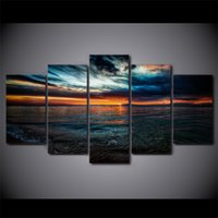 Wholesale Paintings Beach Sunsets - Modern Wall Art home decorative Seascape Painting For Living room 5 Piece Sunset Beach Seawater Canvas Paintings Poster Print