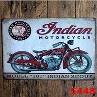 arte da parede da motocicleta venda por atacado-Decoração do feriado Da Motocicleta Do Vintage Artesanato Sinal Da Lata Retro Pintura De Metal Antigo Ferro Cartaz Bar Pub Sinais Arte Da Parede Adesivo