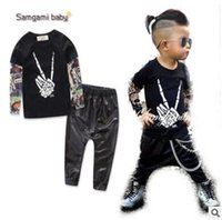 Wholesale Samgami Baby Clothing - Samgami Baby Boys Clothes Kids Tattoo Sleeves T-shirt Pants 2Pcs Outfits Ins Clothes Boys Clothing Set Baby Boys Clothes Boutique Clothing