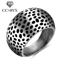 Barato Anel De Banda De Pontos-Atacado Midi Rings For Men Aço inoxidável Punk Wind Little Black Spots Fashion Promise Fine Jewelry Party Wedding Bands CC568