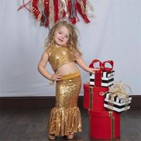 menina flor vestidos azul faísca venda por atacado-Espumante Ouro Duas Peças Flor Meninas Vestidos de Sereia Jewel Sereias Primeira Comunhão Vestido de Lantejoulas Sereia Crianças Vestido de Festa Vestido de Natal