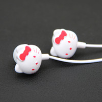 Wholesale Kitty Cell Phone - MOONBIFFY 2016 New Arrival free shipping Hello kitty Earphone for cell phone  ipod mp3 mp4 mobile good quality cartoon